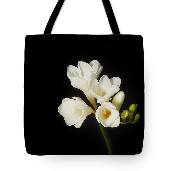 Tote Bag featuring the photograph Purity   A White On Black Floral Study by Lisa Knechtel
