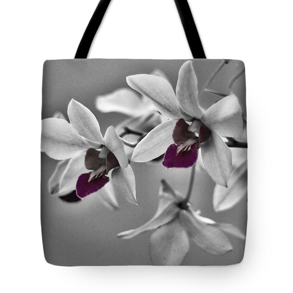 Purple And Pale Green Orchids - Black And White Tote Bag