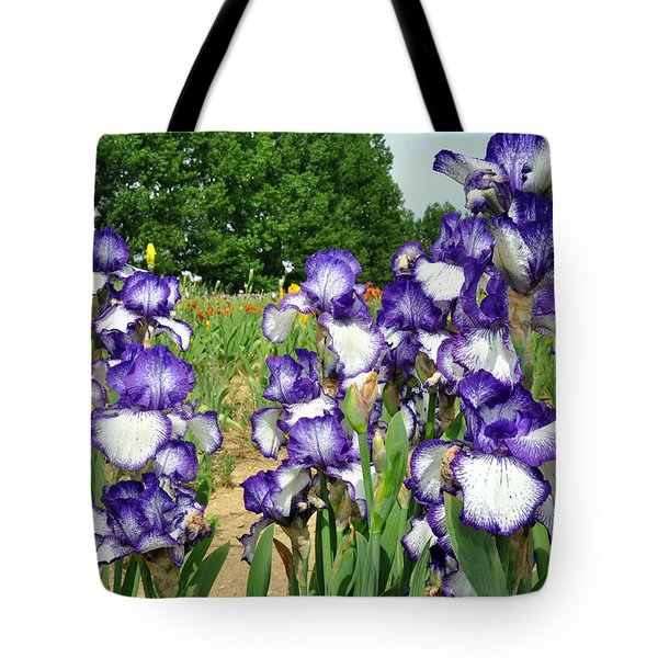 Purple And White Iris Tote Bag