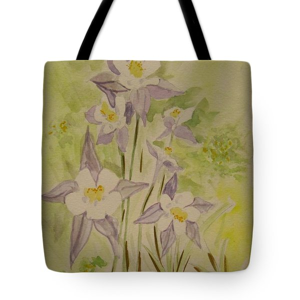 Purple And White Columbines Tote Bag