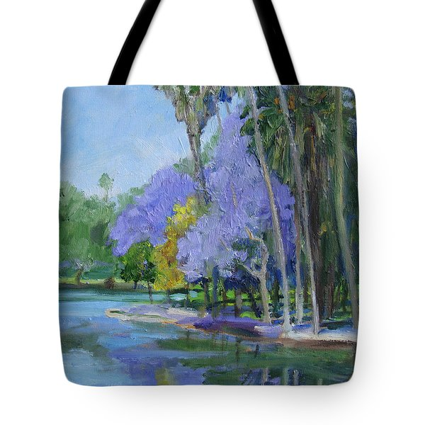 Purple And Yellow Blossoms Tote Bag