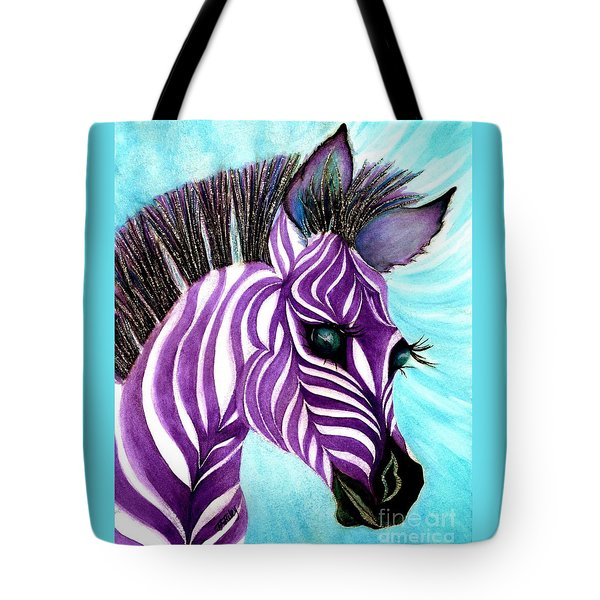 Purple Baby Zebra Tote Bag by Janine Riley