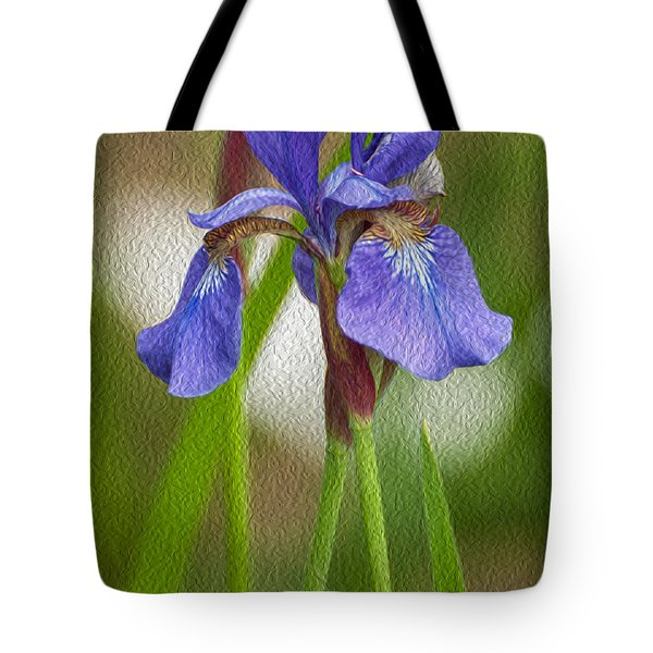 Purple Bearded Iris Oil Tote Bag