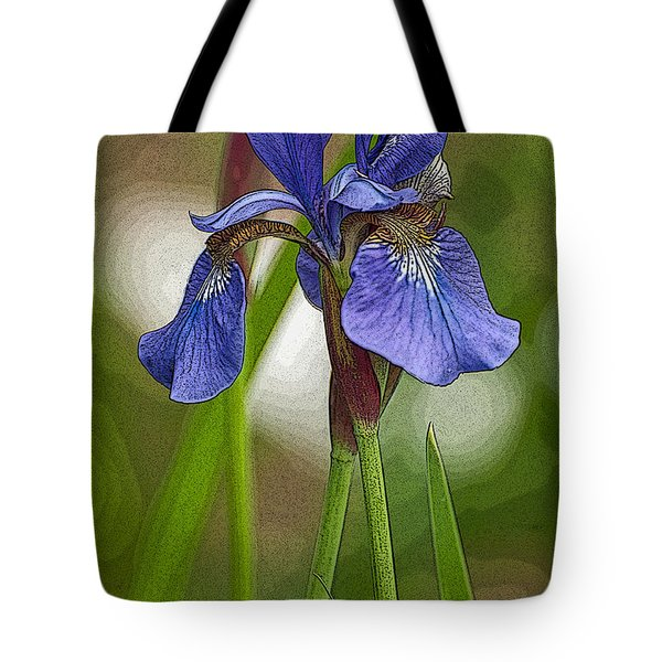 Purple Bearded Iris Watercolor With Pen Tote Bag