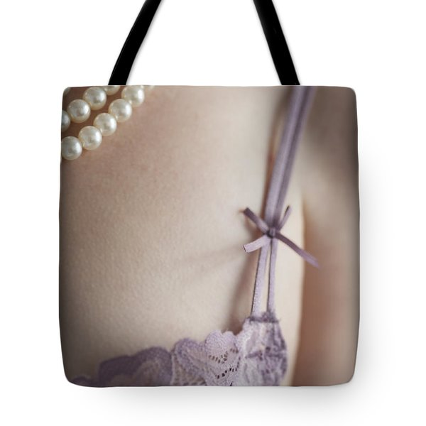Purple Bra And Pearl Necklace Tote Bag by Lee Avison