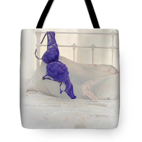 Purple Bra Tote Bag by Amanda Elwell