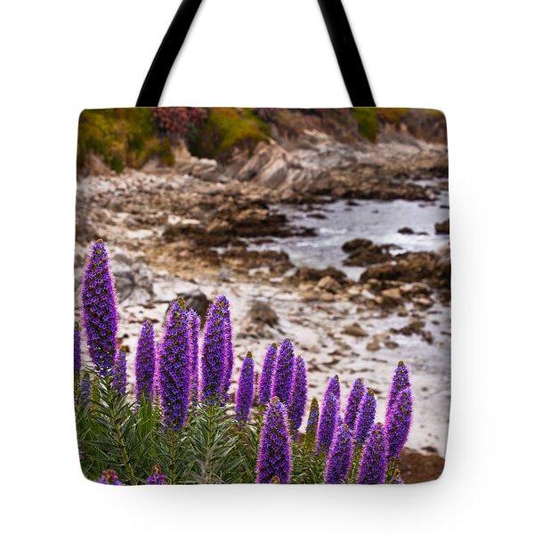 Purple California Coastline Tote Bag by Melinda Ledsome