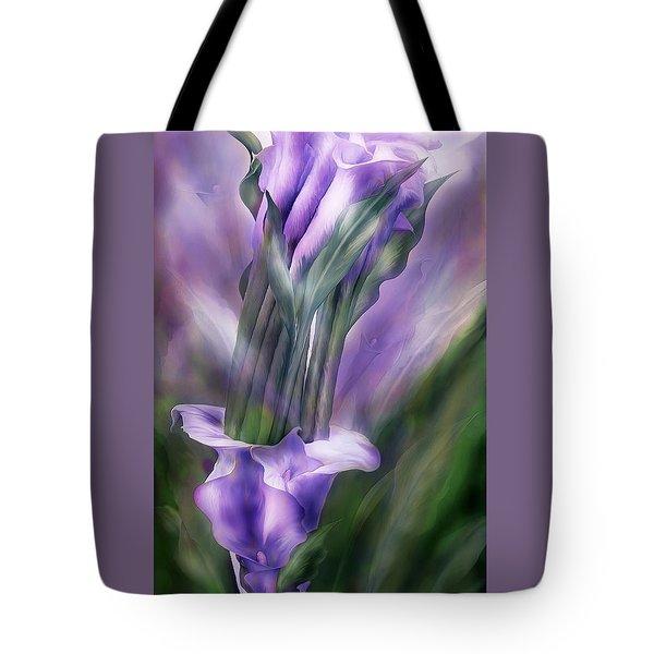 Purple Callas In Calla Vase Tote Bag by Carol Cavalaris