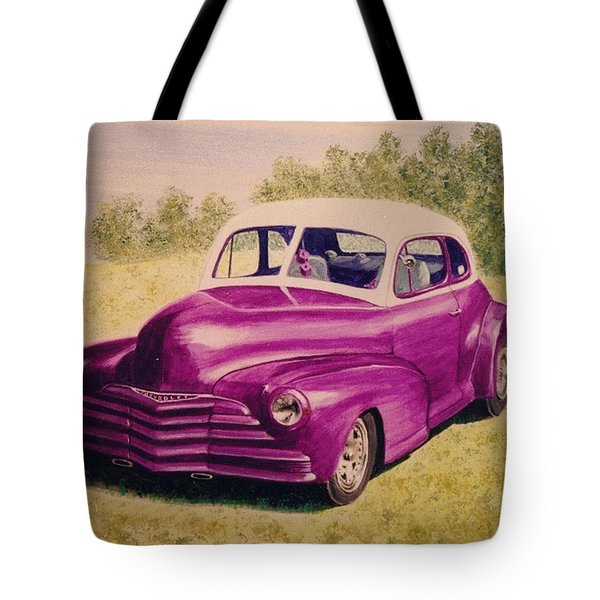 Tote Bag featuring the painting Purple Chevrolet by Stacy C Bottoms
