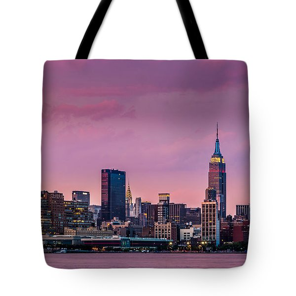 Tote Bag featuring the photograph Purple City by Mihai Andritoiu