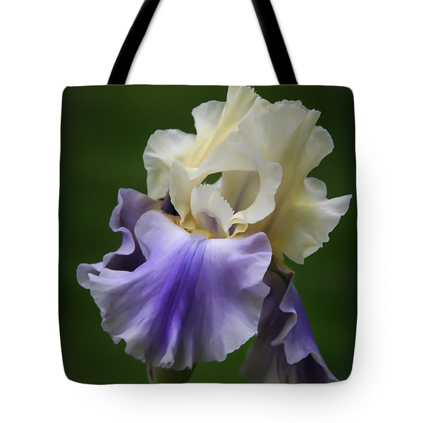 Tote Bag featuring the photograph Purple Cream Bearded Iris by Patti Deters
