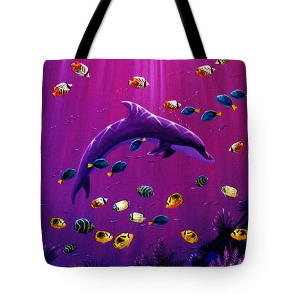 Purple Dolpins Tote Bag by Lance Headlee