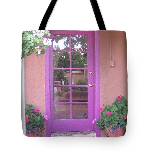 Tote Bag featuring the photograph Purple Door by Dora Sofia Caputo Photographic Art and Design