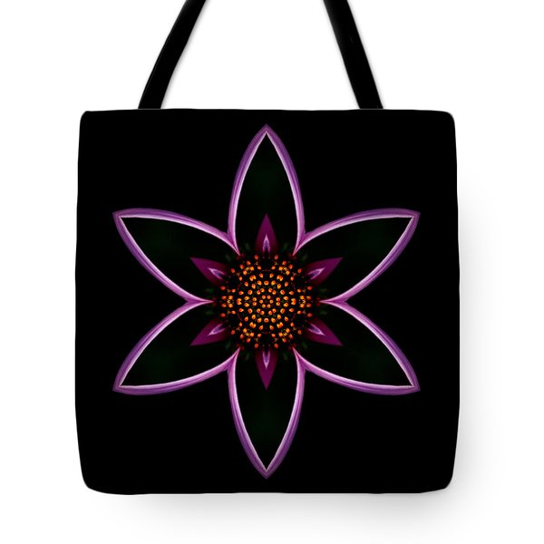 Purple Echinacea Flower Mandala Tote Bag