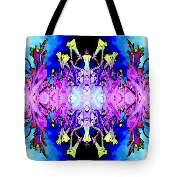 Purple Flower Abstract Tote Bag by Marianne Dow