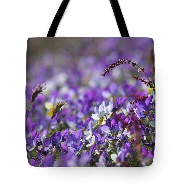 Purple Flower Bed Tote Bag
