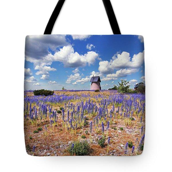 Purple Flower Countryside Tote Bag