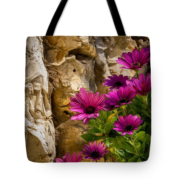 Purple Flowers And Rocks Tote Bag