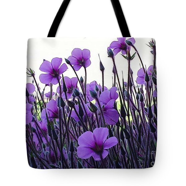 Tote Bag featuring the photograph Purple Flowers Dance by Jasna Gopic