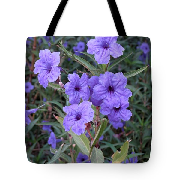 Purple Flowers Tote Bag by Laurel Powell