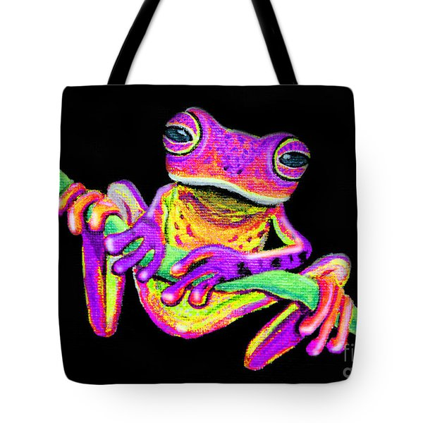 Purple Frog On A Vine Tote Bag