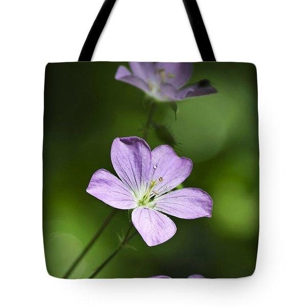 Purple Geranium Flowers Tote Bag by Christina Rollo