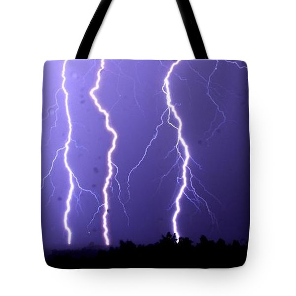 Purple Rain Lightning Tote Bag