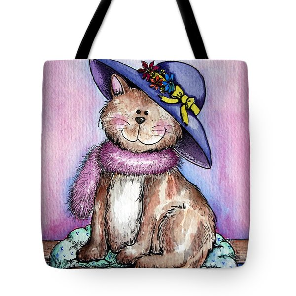 Purple Hat Cat Tote Bag
