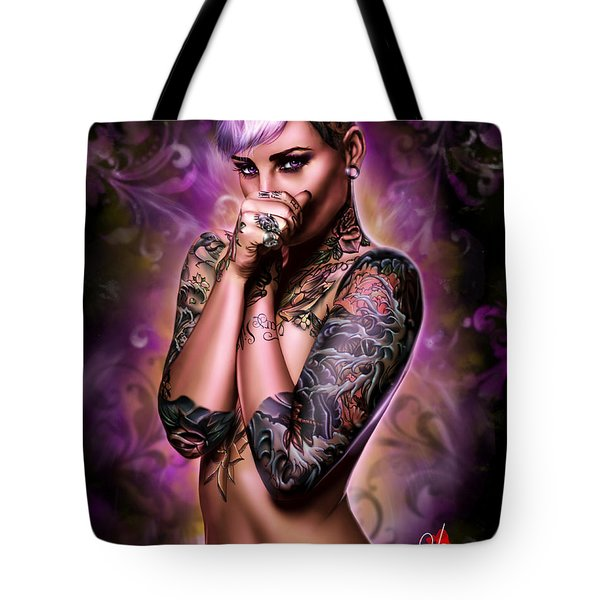 Tote Bag featuring the painting Purple Haze by Pete Tapang