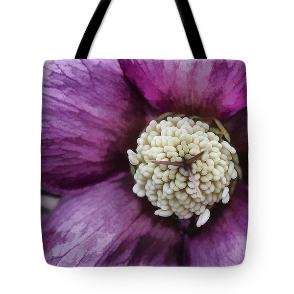 Tote Bag featuring the photograph Purple Hellebore by Jaki Miller