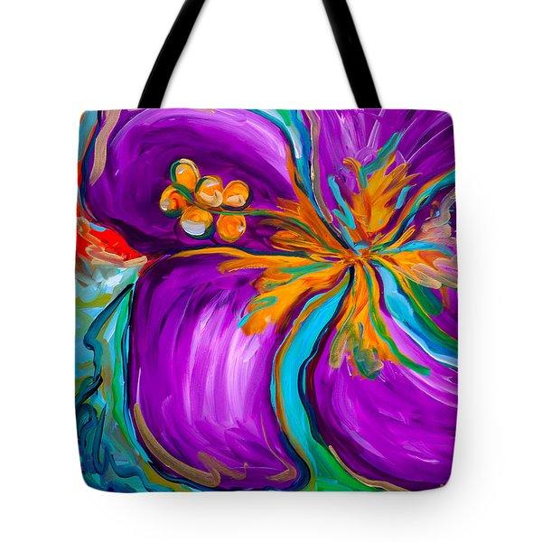 Purple Hibiscus Tote Bag by Beth Cooper