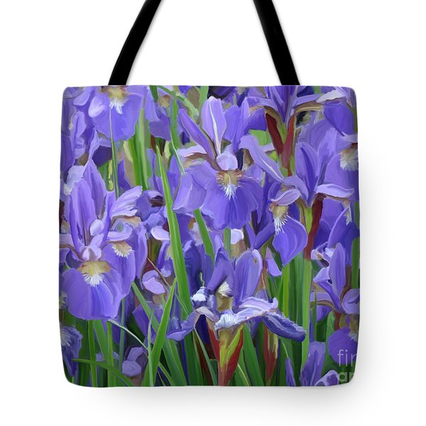 Tote Bag featuring the painting Purple Iris Garden by Tim Gilliland