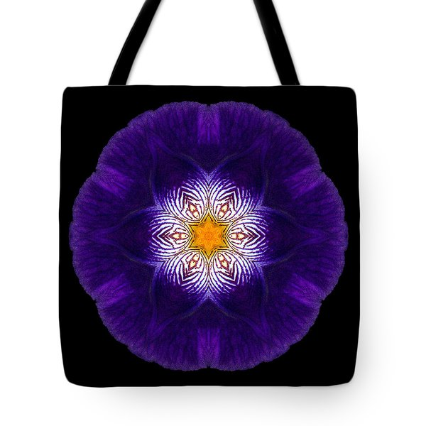 Purple Iris II Flower Mandala Tote Bag