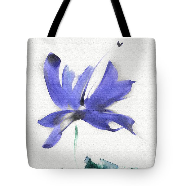 Tote Bag featuring the mixed media Purple Iris In The Greenery by Frank Bright