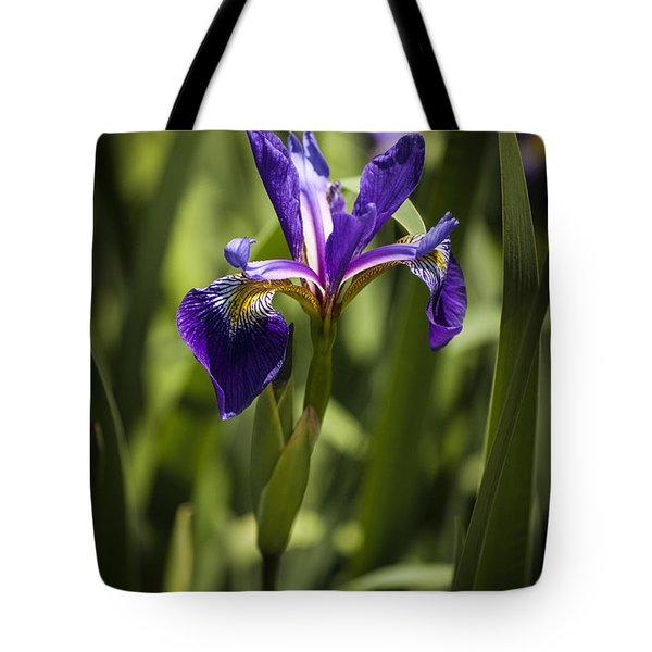 Tote Bag featuring the photograph Purple Iris by Penny Lisowski