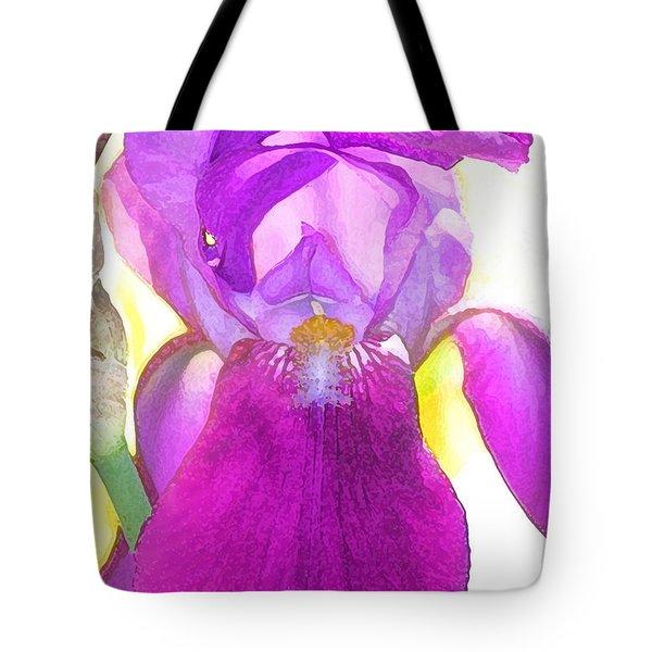 Purple Iris Watercolor Tote Bag