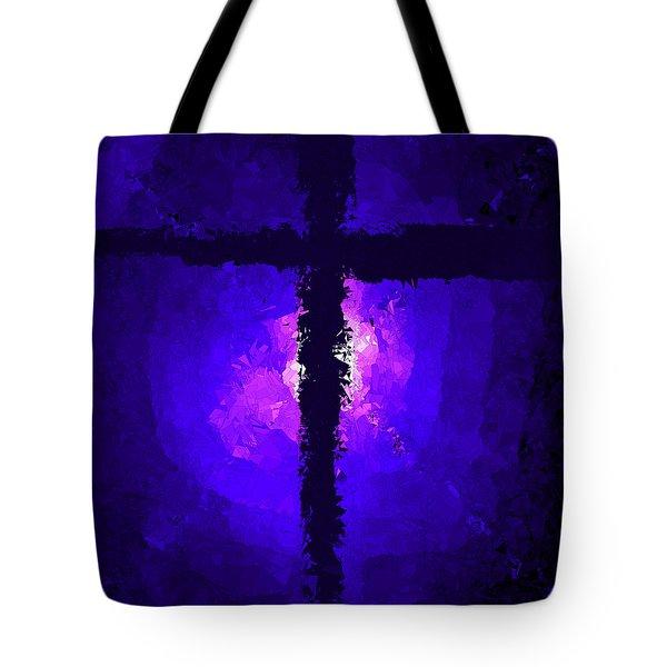 Purple Light Behind The Cross Tote Bag