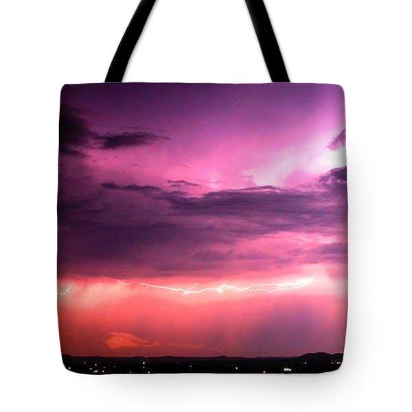 Purple Lightning Panorama Tote Bag