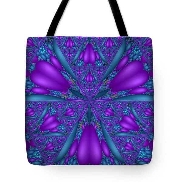 Tote Bag featuring the digital art Purple Mixed Fractal Flower by Judi Suni Hall