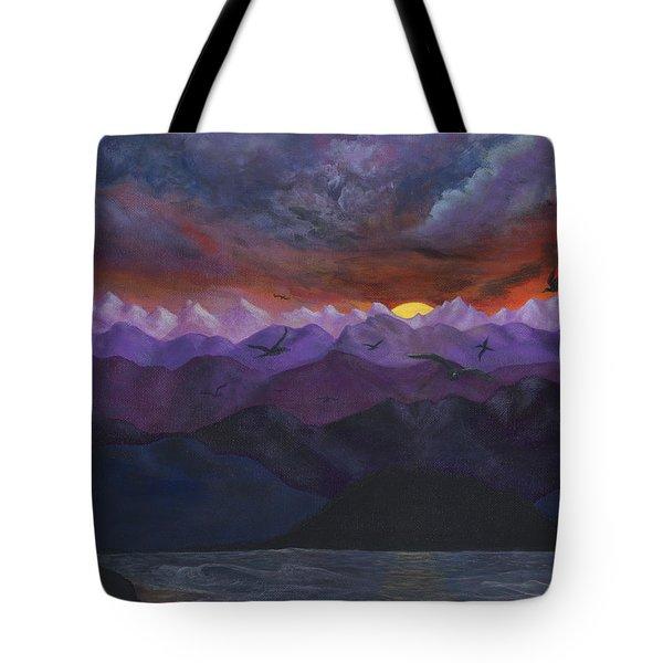 Purple Mountain Sunset Tote Bag by Sandy Jasper