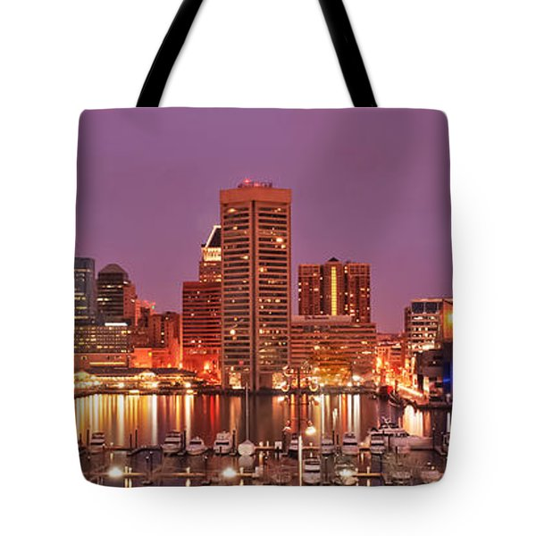 Purple Night In Baltimore Tote Bag