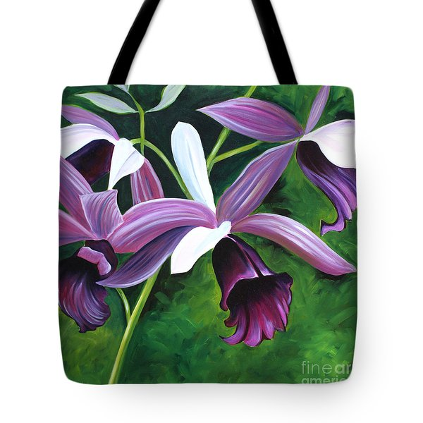 Purple Orchid Tote Bag by Debbie Hart