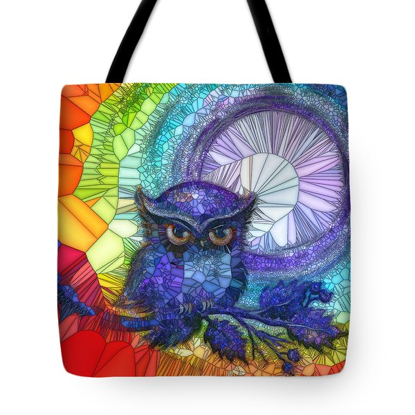 Tote Bag featuring the painting Owl Meditate by Agata Lindquist