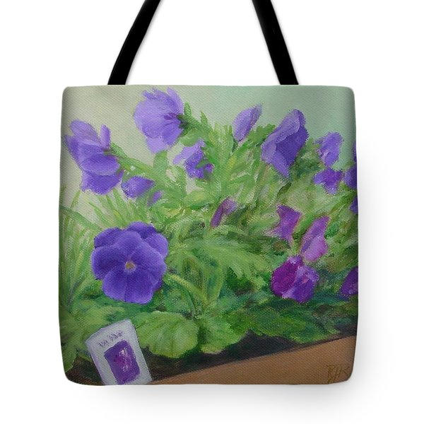 Purple Pansies Colorful Original Oil Painting Flower Garden Art  Tote Bag