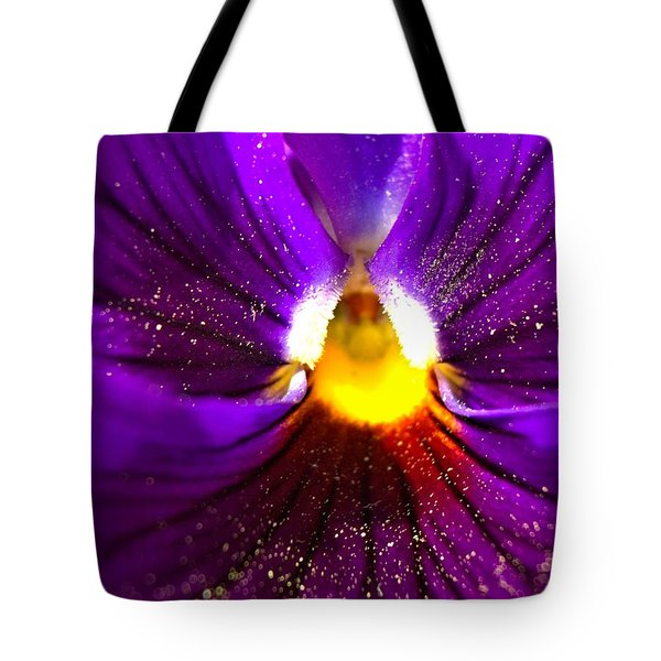 Purple Pansy Detail Tote Bag
