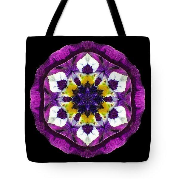 Purple Pansy II Flower Mandala Tote Bag