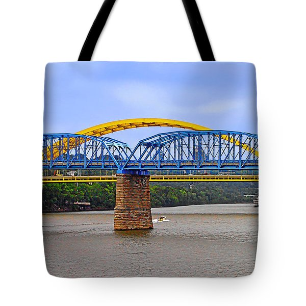 Purple People Bridge And Big Mac Bridge - Ohio River Cincinnati Tote Bag by Christine Till