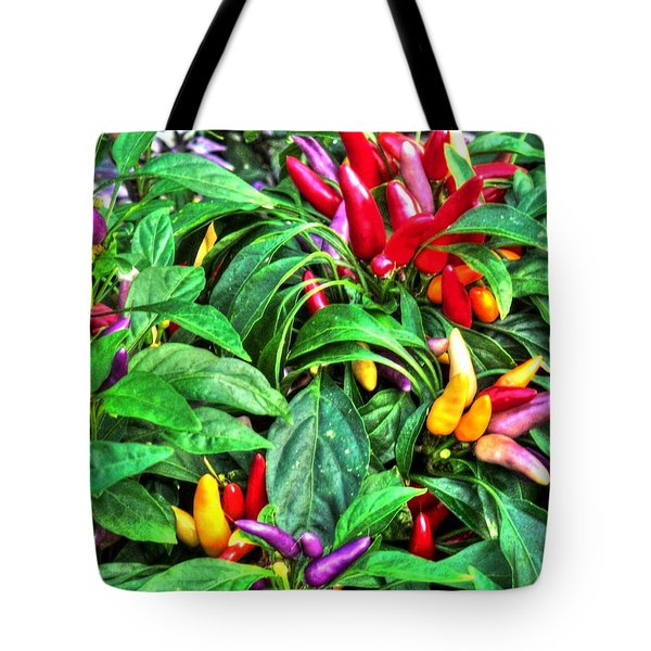 Tote Bag featuring the photograph Purple Peppers by Lanita Williams