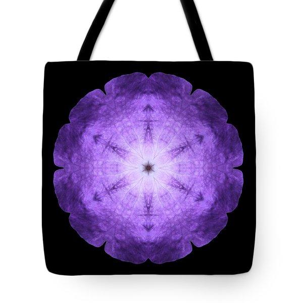 Purple Petunia I Flower Mandala Tote Bag