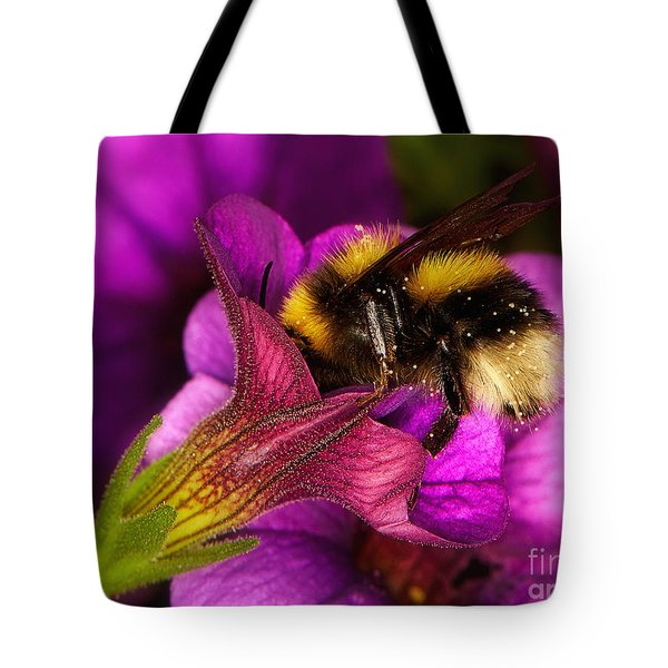 Purple Petunias With A Bumblebee Tote Bag